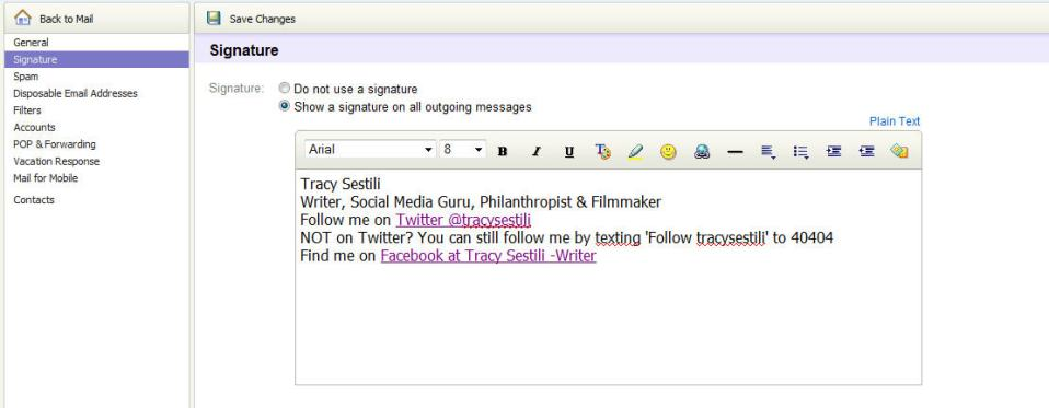 How to change Yahoo! Email Signature